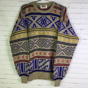 Vintage Mens Size M Aztec Striped Pullover Sweater